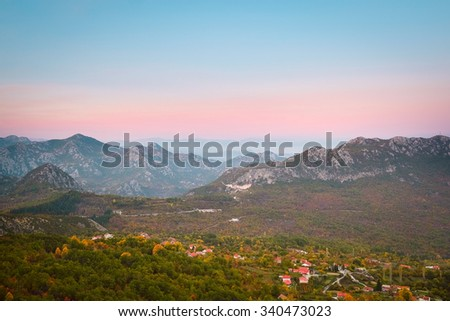 The image of mountains in Montenegro