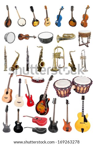 The image of music instruments isolated under a white background - stock photo