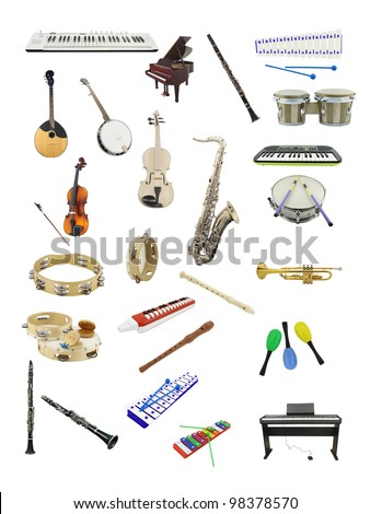 The image of music instruments under the white background - stock photo