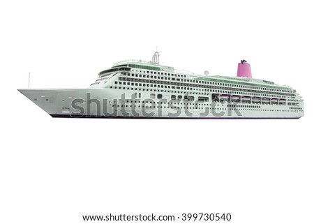 The image of ocean ship under the white background - stock photo