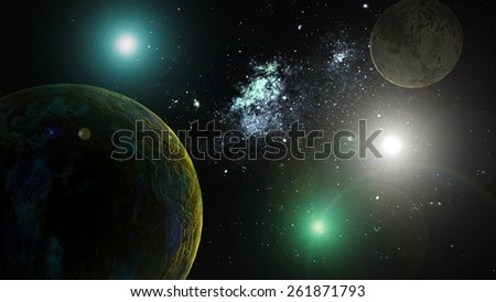 The image of planets in deep space