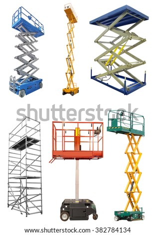 The image of scaffold and lift under the white background - stock photo