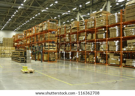 The image of shelves in the warehouse - stock photo