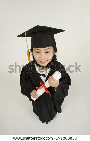 The image of smiling child graduating in Korea,Asia