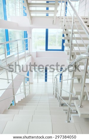 The image of staircase in modern building - stock photo