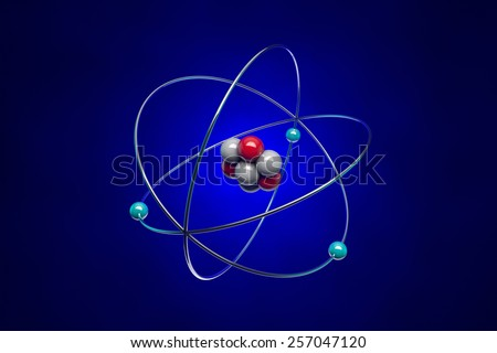 The image of the atom for school textbooks.  Illustration created in Cinema 4D and Photoshop. - stock photo