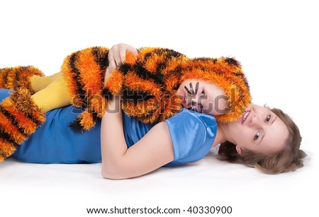 The image of the elegant woman and the girl in a suit of a tiger