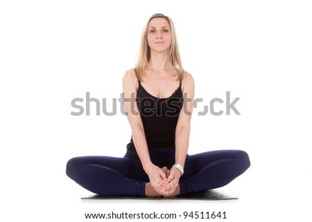 The image of the girl doing exercise under the white background