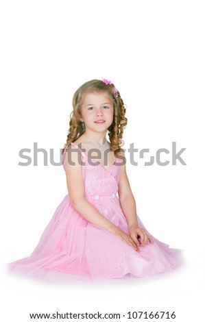 The image of the girl in a pink dress