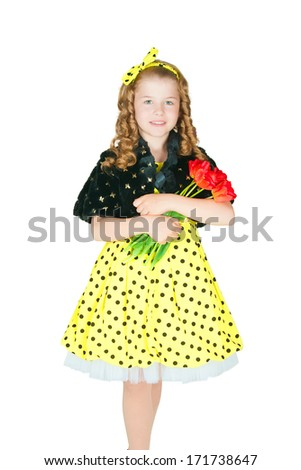 The image of the girl with a bouquet of tulips