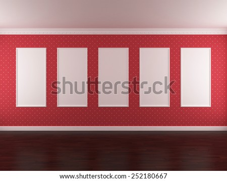 The image of the interior in red color