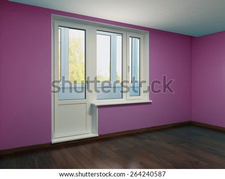 The image of the interior in violet color