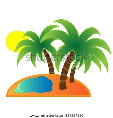the image of the island. it has three palm trees, the sun is shining.