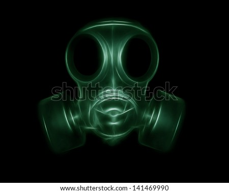 The image of the mask in shades of green