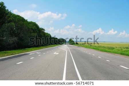 The image of the road and sky
