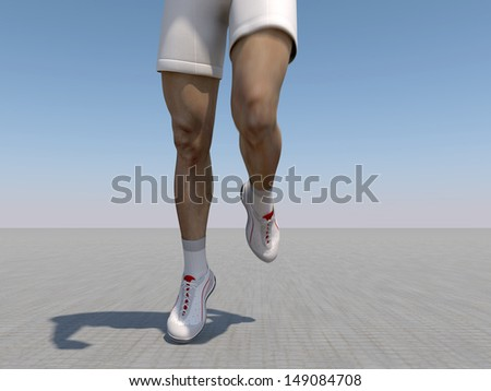 The image of the running person is executed in 3D