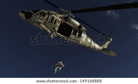 The image of the soldier near to helicopter