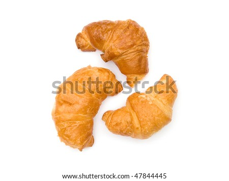 The image of three croissants isolated on white