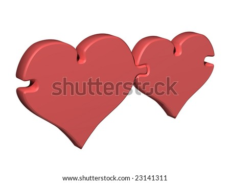 The image of two hearts which are linked as two parts of a puzzle.
