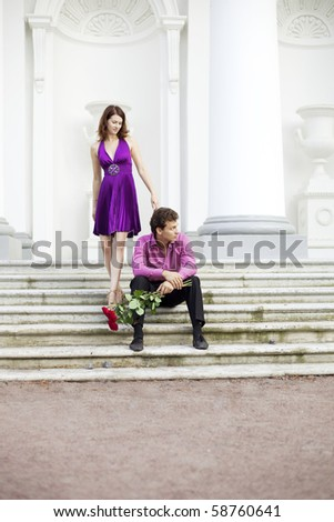 The image of two lovers on a date - stock photo