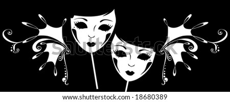 The image of two masks for a masquerade with monograms. - stock photo
