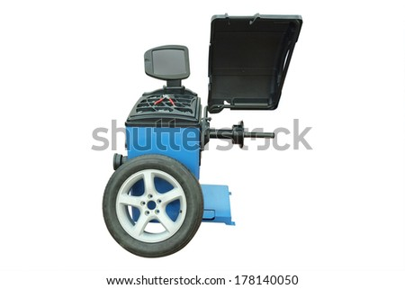The image of tyre fitting machine under the white background