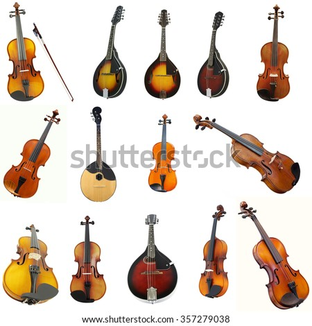 The image of violins and mandolins under the white background - stock photo