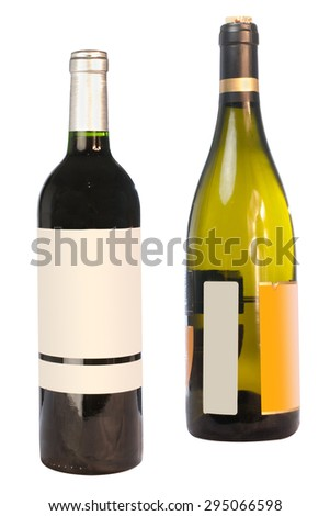The image of wine bottle under the white background