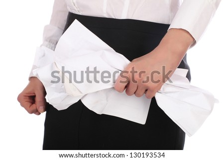 The image of woman hang clenched in fist and pressed the paper