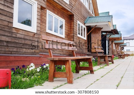 The image of wooden houses - stock photo