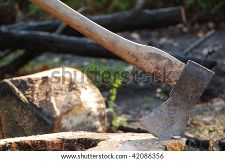 the image shows an axe sticking in a tree