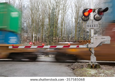 the image with crossing rail - stock photo