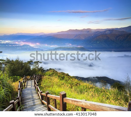 The imaging of beautiful landscape with nice mountain sun color - stock photo