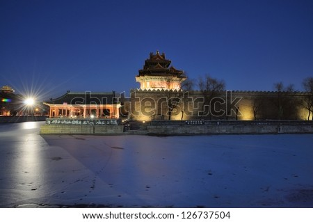 The Imperial Palace watchtower at night