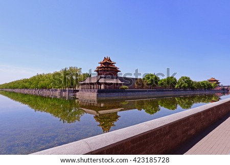 The imperial palace watchtower, in Beijing, China  - stock photo