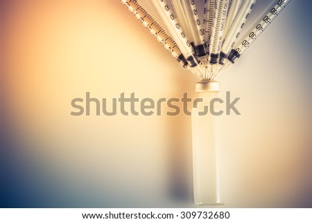 The implication is that the shortage of medicines. Syringe with medicine,close-up syringe - stock photo