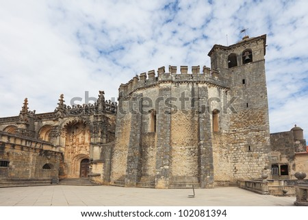 The imposing medieval castle - the monastery of the Templars. The central round tower and decorated the front door
