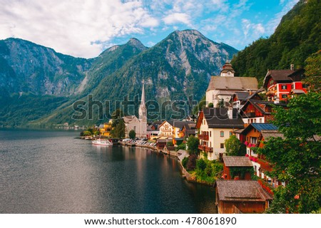The impressive landscape of Hallstatt City overlooking the mountains and the local lake