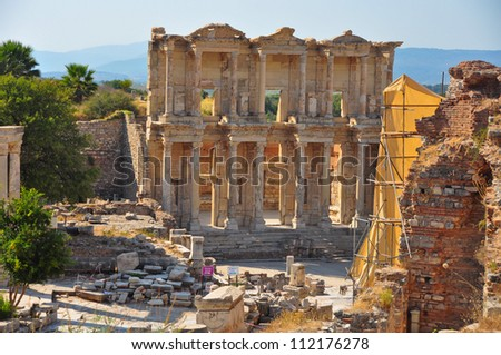The impressive ruins of the ancient Celsus Library in Ephesus, Turkey. - stock photo