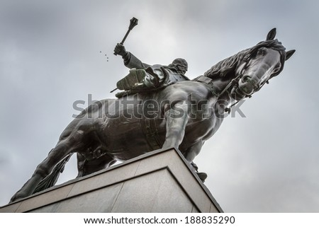 The impressive Zizkov Monument in Prague - stock photo