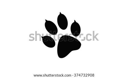 The imprint of black animal paw prints. Web icon, color paw dog. Paw print pet. Print on a white background.   - stock photo