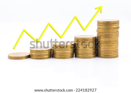 The increase in revenue, coins on a white background.