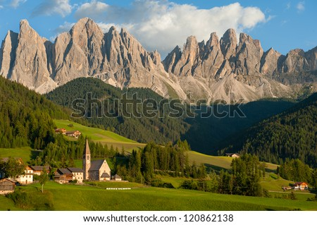 The incredible Dolomite mountains near Santa Maddalena, Italy - stock photo