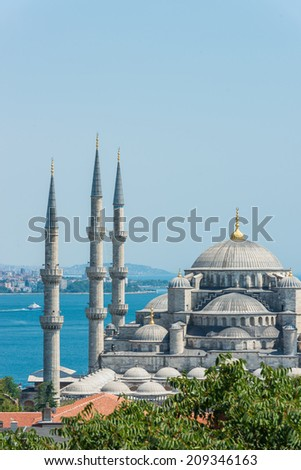 The incredible Islamic architecture of the Blue Mosque, one of the most famous landmarks in all of Istanbul.