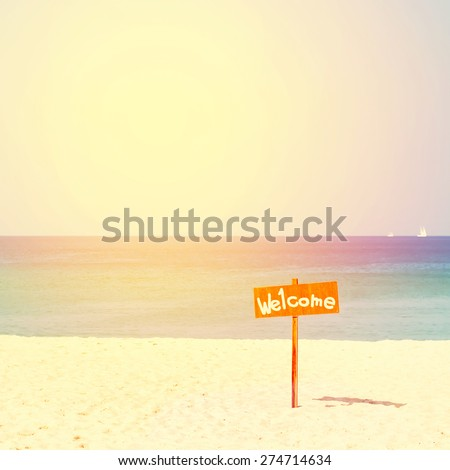 The index Welcome to water, sand and the sea. Sunny day. Nature background - stock photo