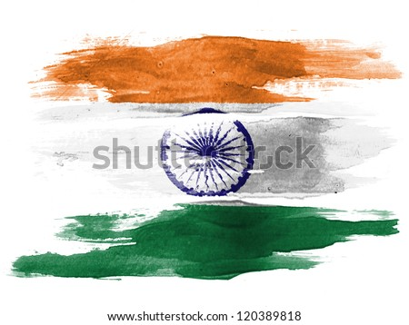 The Indian flag painted on  white paper with watercolor - stock photo