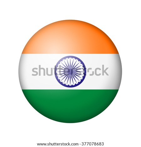 The Indian flag. Round matte icon. Isolated on white background.