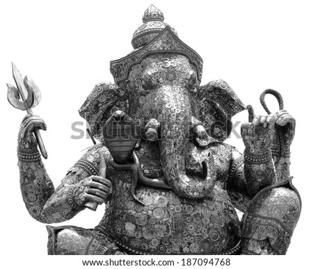 The Indian God Ganesha made from recycle metal black and white tone - stock photo
