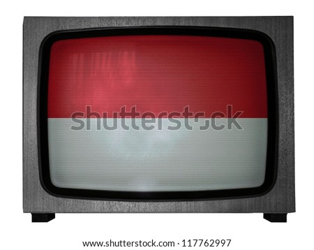 The Indonesian flag painted on old TV