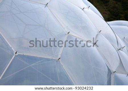 The inflated domes of the Eden Project in Cornwall, England.